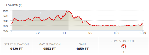 Navajo Lake Loop course elevation profile