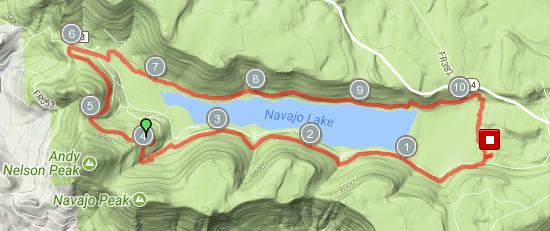 Navajo Lake Loop course map