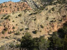 Switchbacks on Lightning Switch as viewed from the Ghost Flats trail.