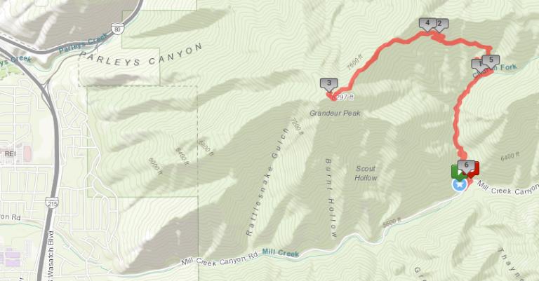 Grandeur Peak - route map